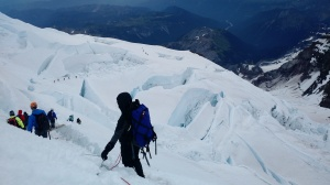 Crossing a glacier on Mt Rainier